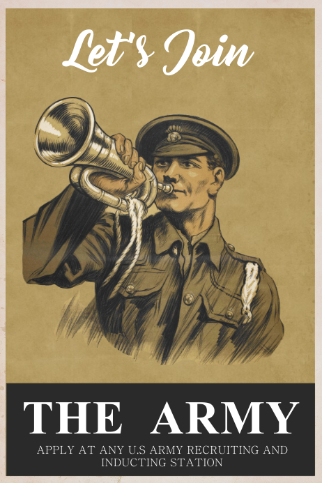Vintage Army Poster Template Affiche