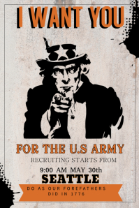 Vintage Army Uncle Sam Poster Template