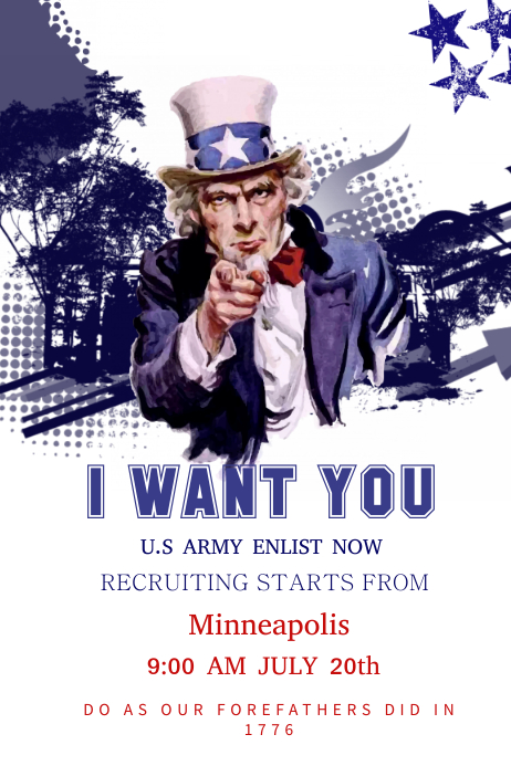 vintage army uncle sam poster template postermywall
