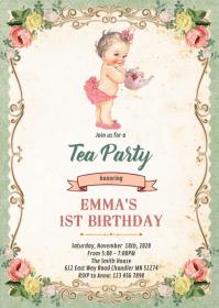 Vintage baby shower tea invitation A6 template