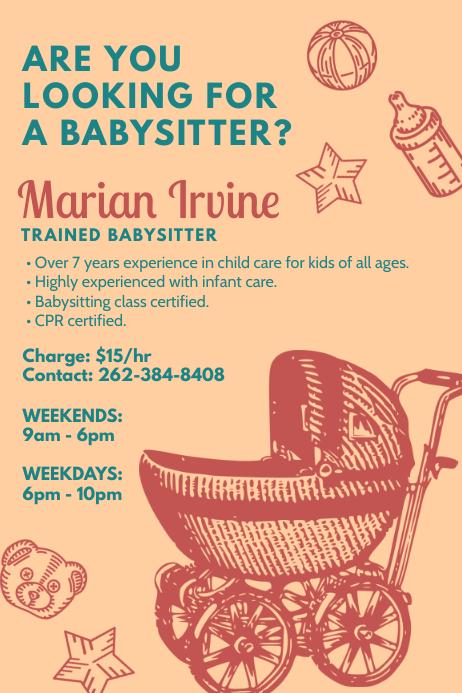 Vintage Babysitter Advertising Poster