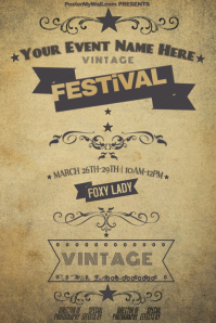 Vintage Banner Scroll Antique Old Festival Retail Event Star
