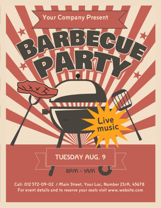 Vintage Barbecue Flyer Volante (Carta US) template