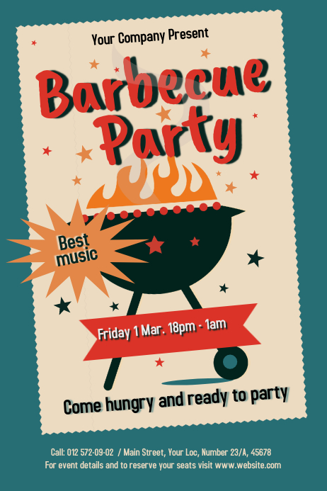Vintage Barbecue Poster template