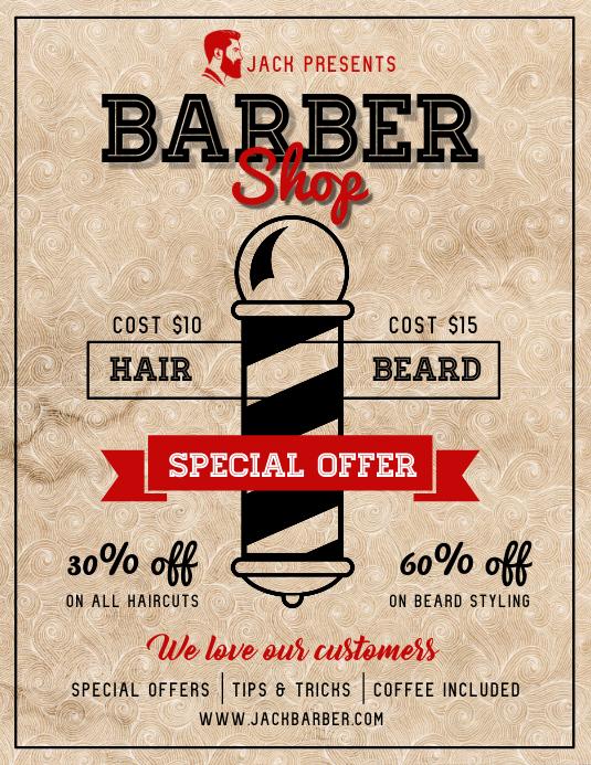 Vintage Barber Shop Flyer Løbeseddel (US Letter) template