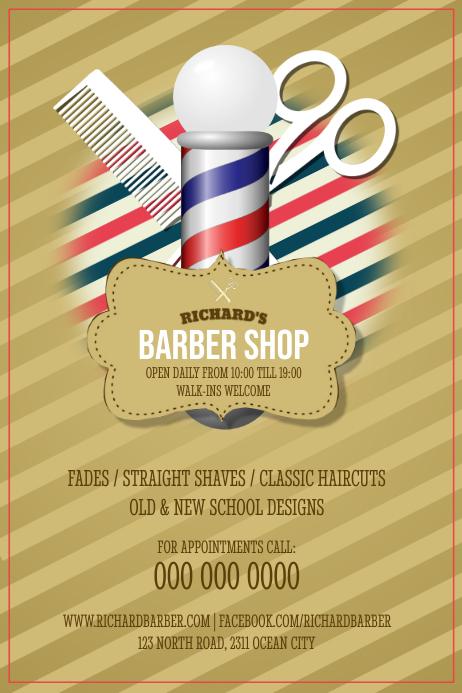 Vintage Barber Shop Poster Cartaz template