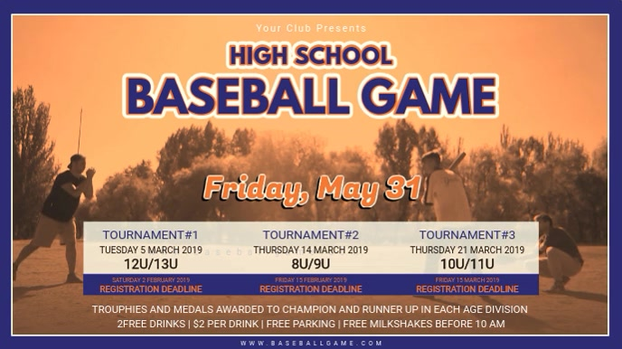 Vintage Baseball Highschool Tournament Schedule Banner template