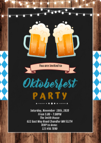 Vintage beer oktoberfest invitation A6 template