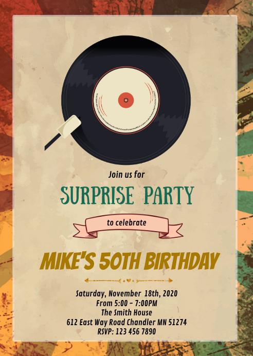 Vintage birthday theme party invitation A6 template