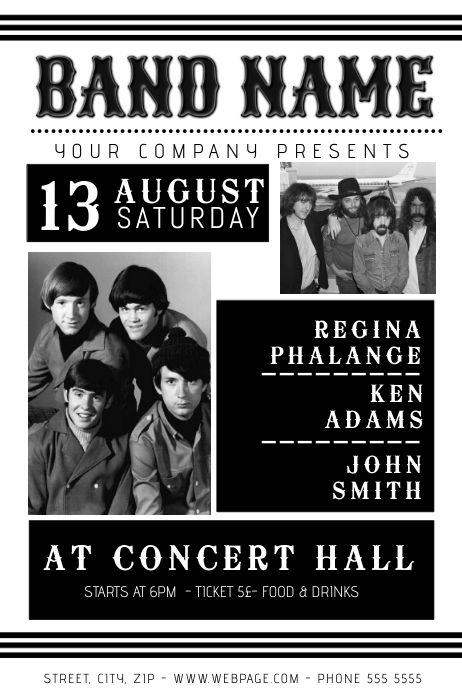 Vintage black and white band flyer template