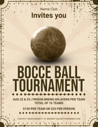 Vintage Bocce Ball Tournament Flyer template