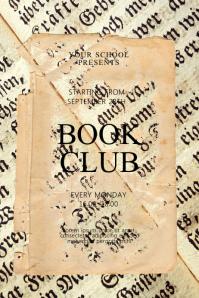 Vintage Book Club Flyer Design Template