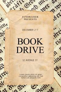 Vintage Book Drive Flyer Design Template