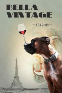 Vintage Boxer Dog Poster template