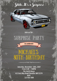 Vintage Camaro car theme invitation A6 template