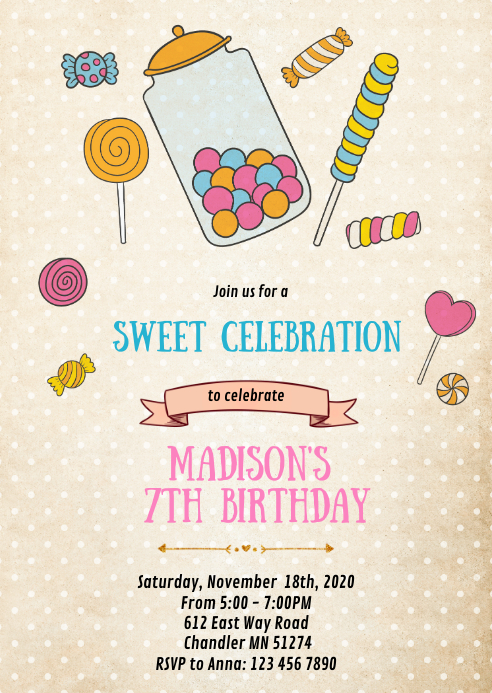 Vintage candy birthday party invitation A6 template