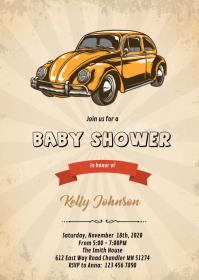 Vintage car baby shower birthday invitation
