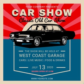Vintage Car Show Event Square Video template
