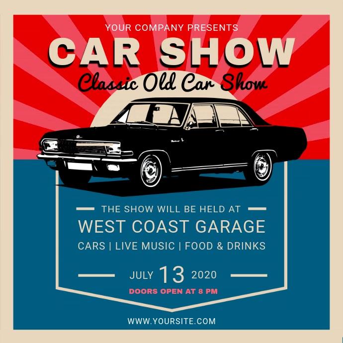 Vintage Car Show Event Square Video Vierkant (1:1) template