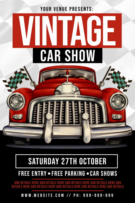 Vintage Car Show Poster โปสเตอร์ template