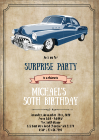 Vintage car theme card invitation A6 template