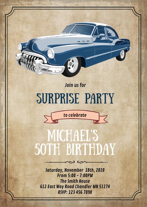 Vintage car theme card invitation A6 template