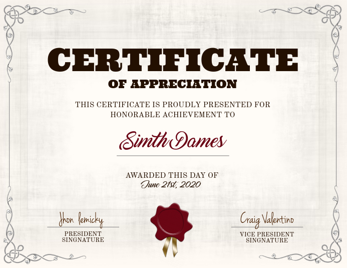 Vintage Certificate Card Template
