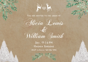 Vintage chalk winter wedding invitation postc Poskaart template