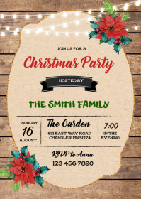 Vintage christmas party invitation A6 template