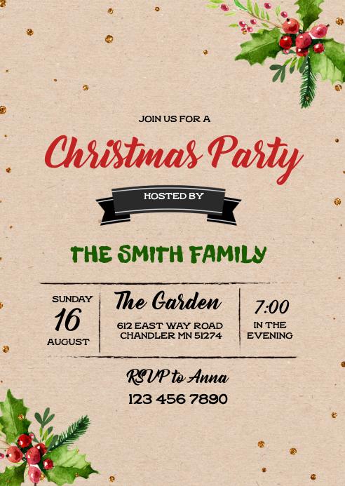 Vintage christmas party theme invitation