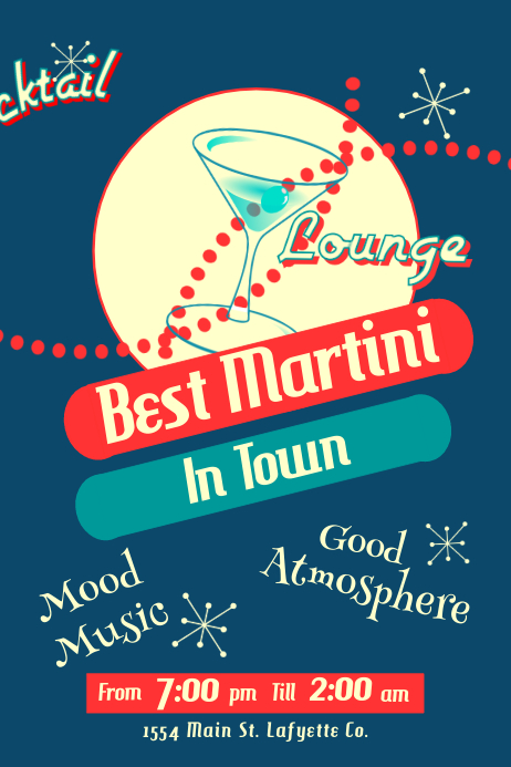 Vintage Cocktail Lounge Poster template