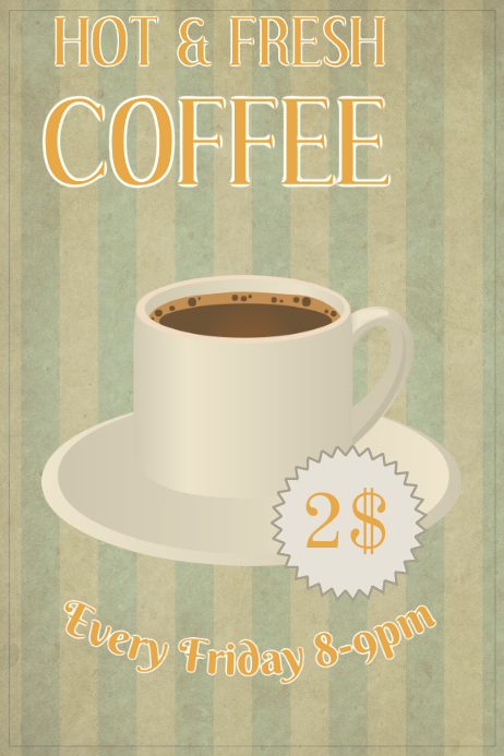 Vintage Coffee Poster Template Póster