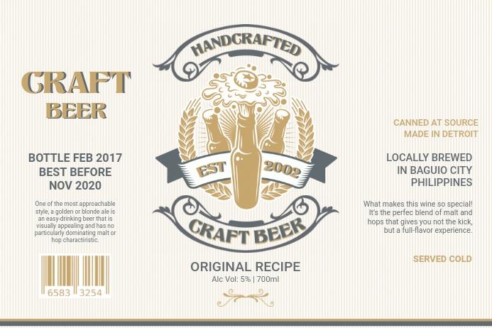 Vintage Craft Beer Label Etiket template