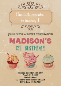 Vintage Cupcake birthday party invitation