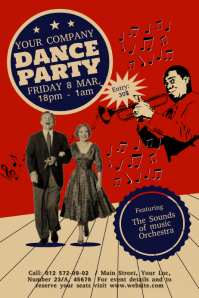 Vintage Dance Party Poster template