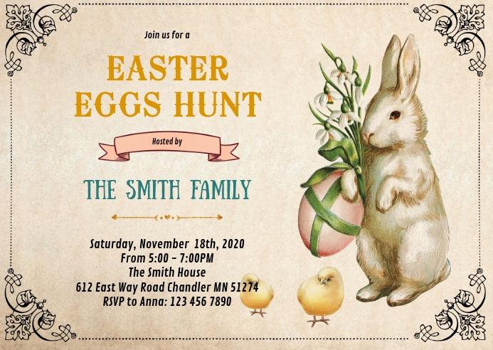 Vintage Easter party invitation A6 template