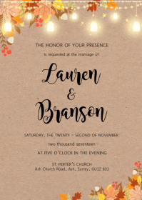 Vintage fall autumn theme invitation A6 template