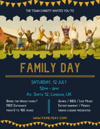 Vintage Family Day Charity Event Flyer Template
