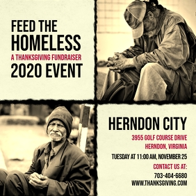 Vintage Feed the Homeless Charity Ad Instagram Post template
