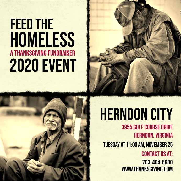 Vintage Feed the Homeless Charity Ad Pos Instagram template