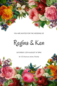 Vintage Floral Wedding invitation Template