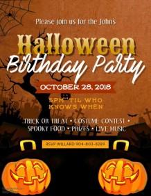 Vintage Halloween Birthday Party Video Flyer Template