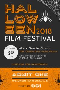 Vintage Halloween Film Festival Event Poster Template