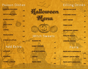 Vintage Halloween Kids Menu Template