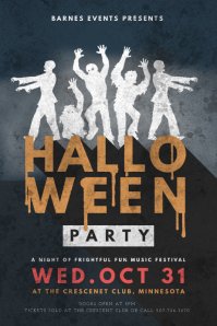Vintage Halloween Music Party Flyer Design Template Poster
