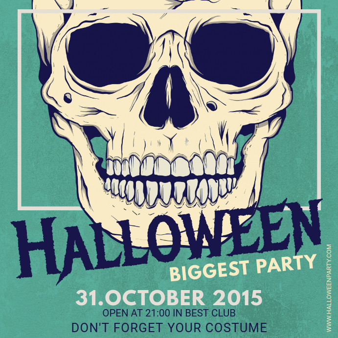 Vintage Halloween Party Invite Square Image Template