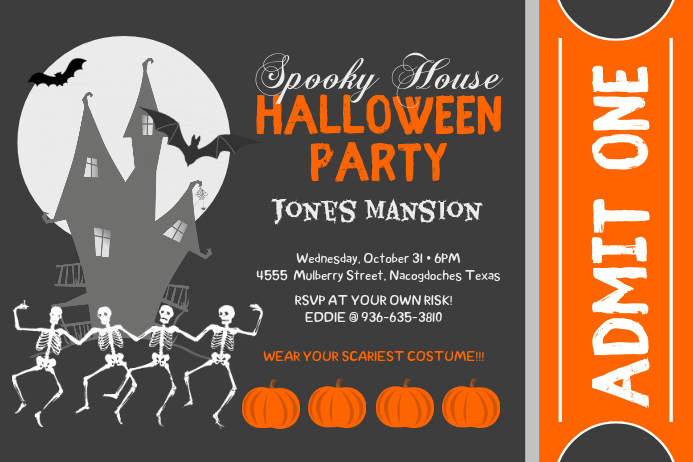 Vintage Halloween Party Poster and Ticket Template