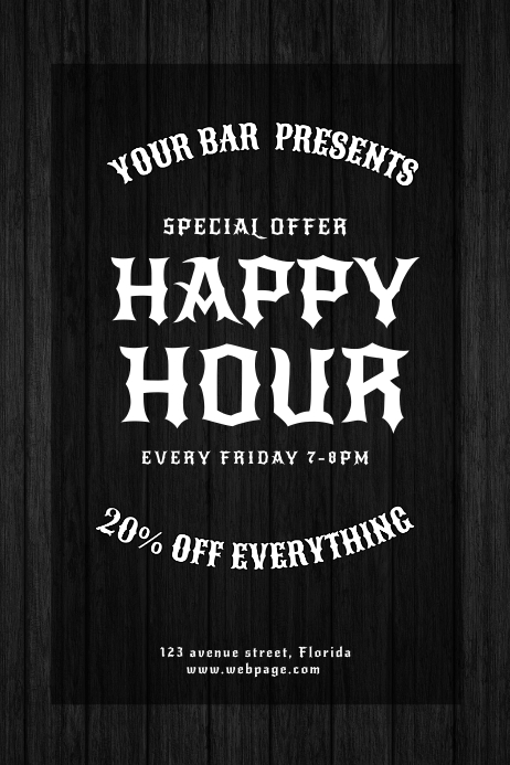 Vintage Happy Hour Bar Flyer Design Template