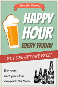 Vintage Happy Hour Bar Poster Template