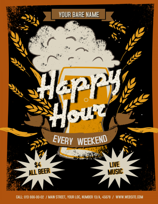 Vintage Happy Hour Flyer Pamflet (Letter AS) template